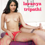 Cum on Lavanya Tripathi mouth boobs after sucking nude cock