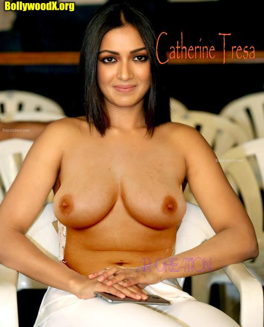 Hot topless Catherine Tresa naked boobs without bra nude