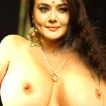 Preity Zinta juicy boobs nude in open bra on her bed pic