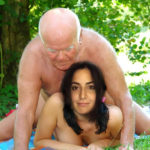 Old man sucking Katrina Kaif nude boobs outdoor pic