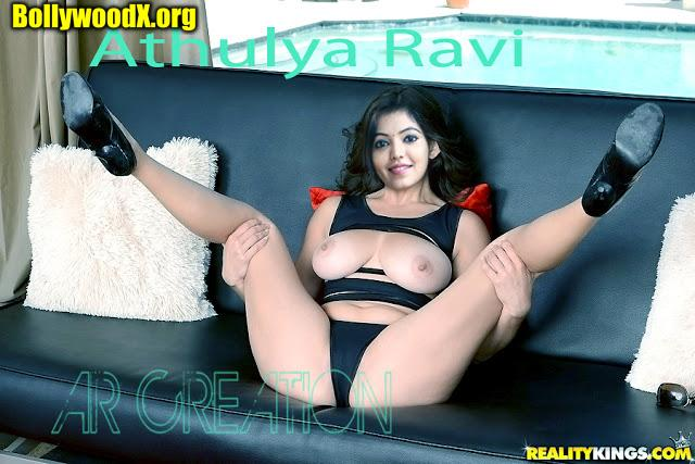 Sexy boobs Athulya Ravi spreading naked legs on couch