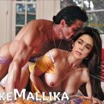 Sexy boobs Mallika Sherawat ass fucked from back in yellow saree