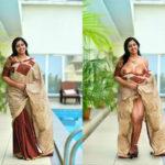 Anu Sithara saree slip big boobs exposed without blouse nude pussy without panties