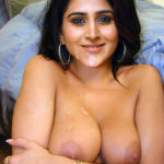 Varshini Sounderajan pressing her boobs cum on her mouth and cleavage