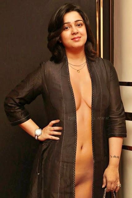 Charmi exposing sexy body in transparent black dress xxx fake