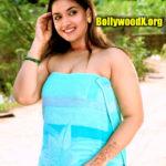 Keerthy Suresh sexy in bath towel low neck cleavage