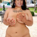 Serial actress Uma Devi pressing her big boobs naked fat body