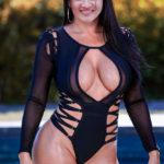 Suhasi Dhami nude cleavage xxx black bikini pool side photo