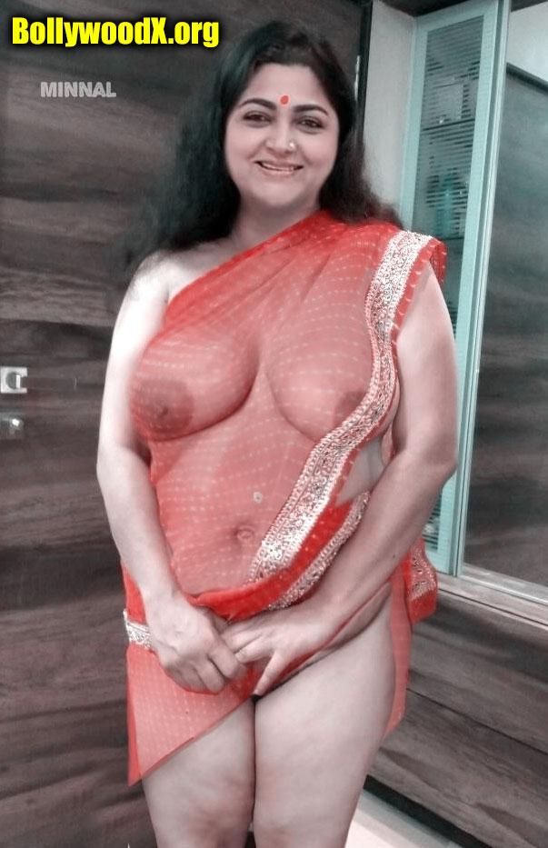 Hot milf actress Kushboo x ray Saree nipple pussy see through